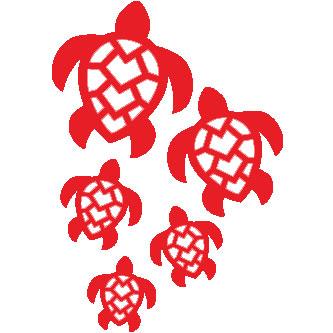 Hawaiian Turtle Honu Family Sticker